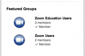 Zoom Featured Groups