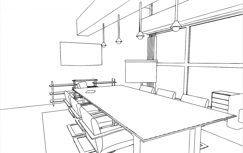 Interior Design One Point Perspective Drawing