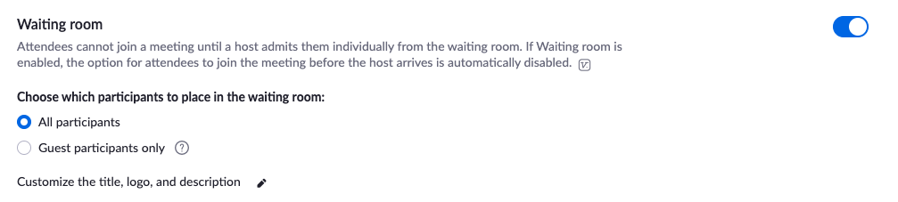 Enable Waiting Rooms