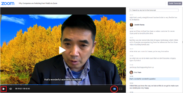 Screenshot of recorded meeting with audio transcript and closed captions displayed.