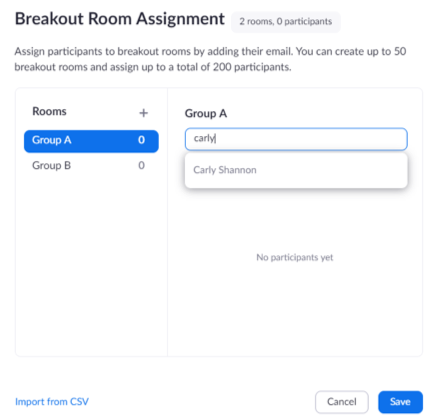 Pre-assign Breakout Rooms