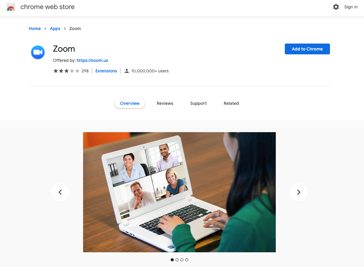 Download the Zoom app from the Chrome Web Store
