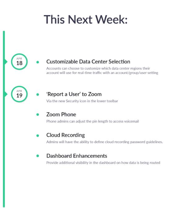 Zoom updates in the coming week