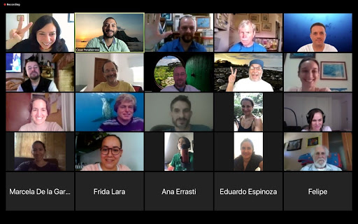 Upwell team members take part in a Zoom Meeting with MigraMar, a nonprofit dedicated to marine conservation.