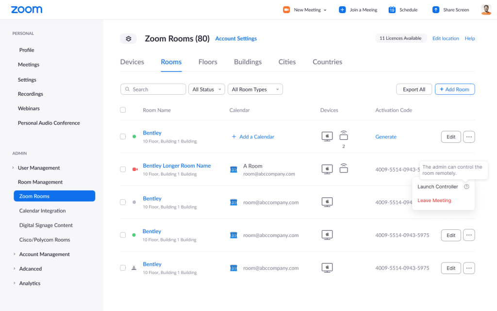 Zoom admin portal to control Zoom Rooms remotely