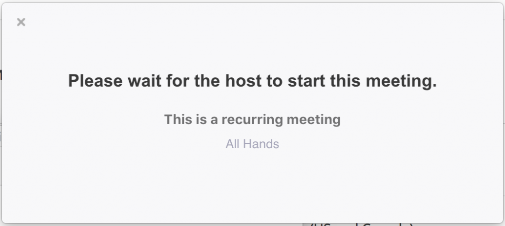 Waiting for the host to start this meeting