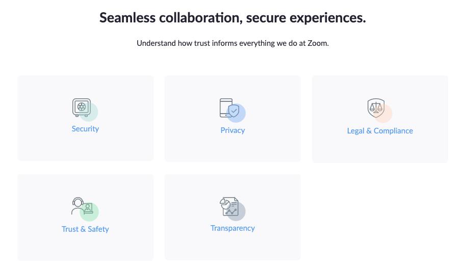 Página principal do Centro de Confiança