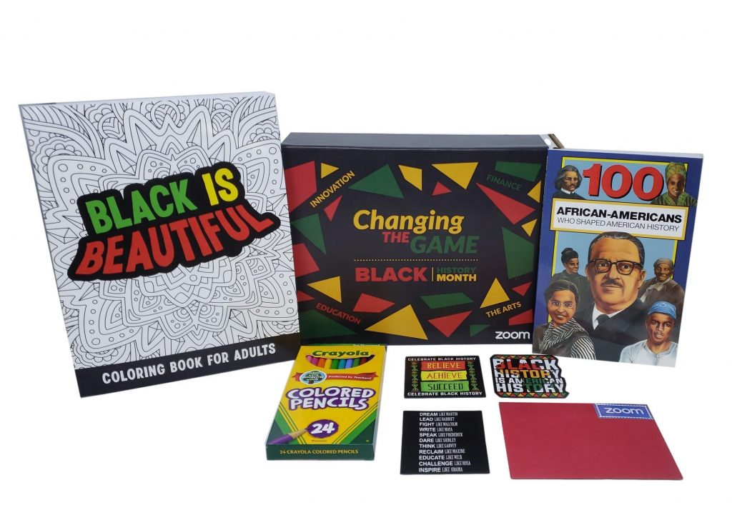 Books, stickers, and other items celebrating Black History Month