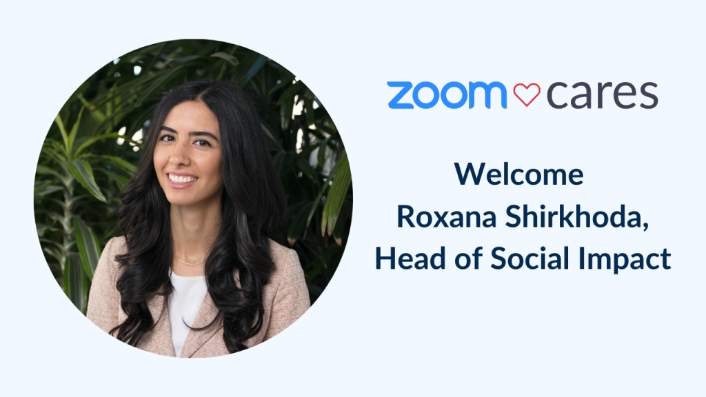 Zoom Cares graphic with headshot of Roxana Shirkhoda
