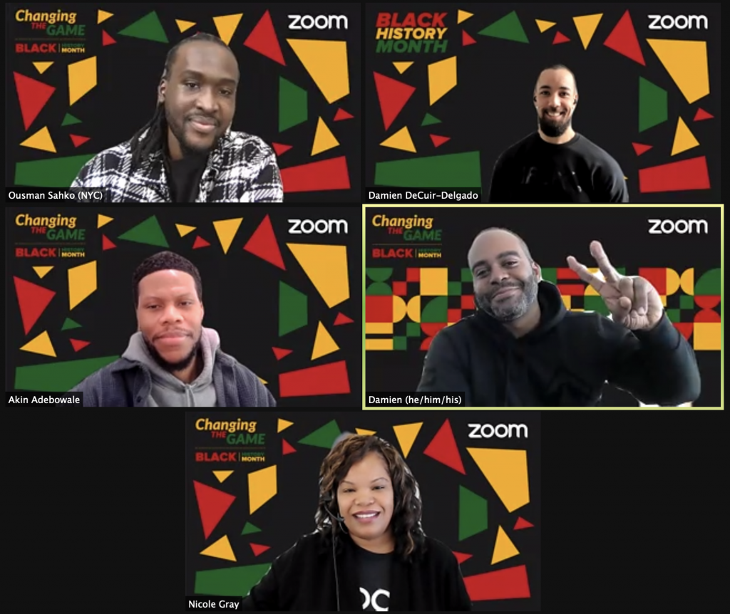 Zoom meeting with Akin Adebowale and Ousman Sahko Sow, founders of Blacktag, for Black History Month