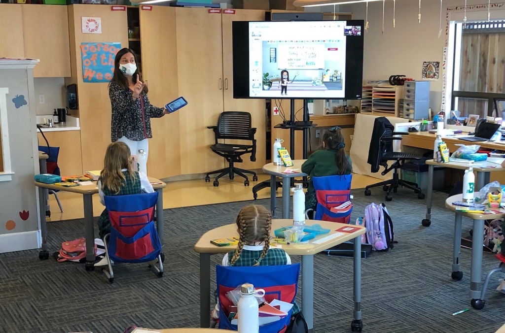 Teacher in hybrid classroom setting with students sitting at desks wearing masks and avatar classroom image on a screen.