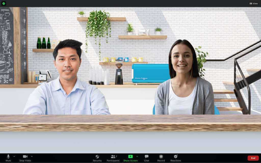 Zoom's Immersive View showing two meeting participants in a single virtual cafe scene
