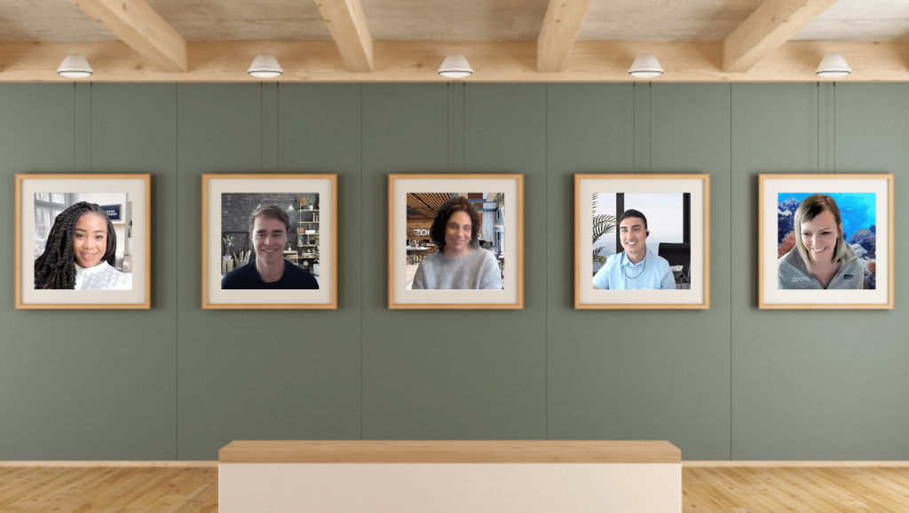 Zoom's Immersive View showing five meeting participants in a single virtual scene