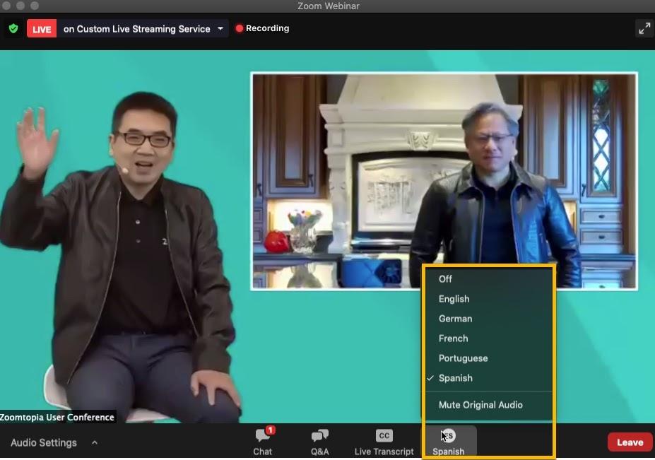 由 Zoomtopia 網路研討會擷取的螢幕畫面:Zoom 執行長袁征與 NVIDIA 的黃仁勛進行視訊會議