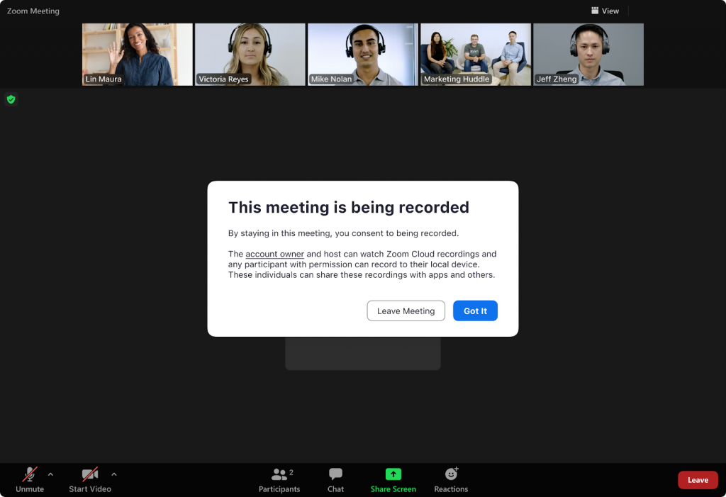 Recorded and livestreamed meetings