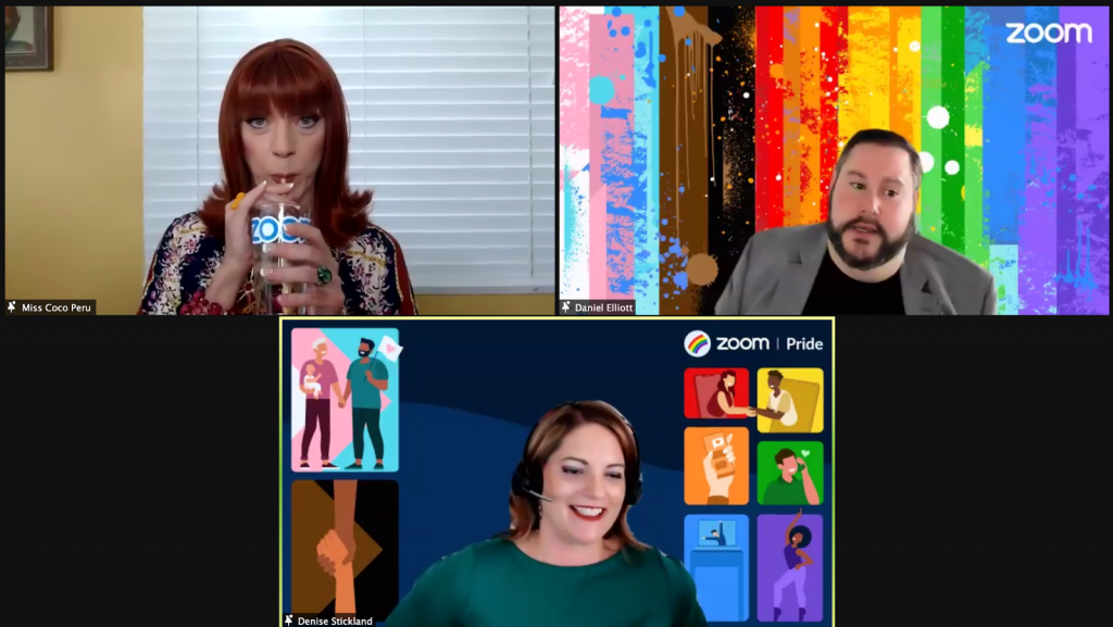 Screenshot from Zoom Pride event with Miss Coco Peru.