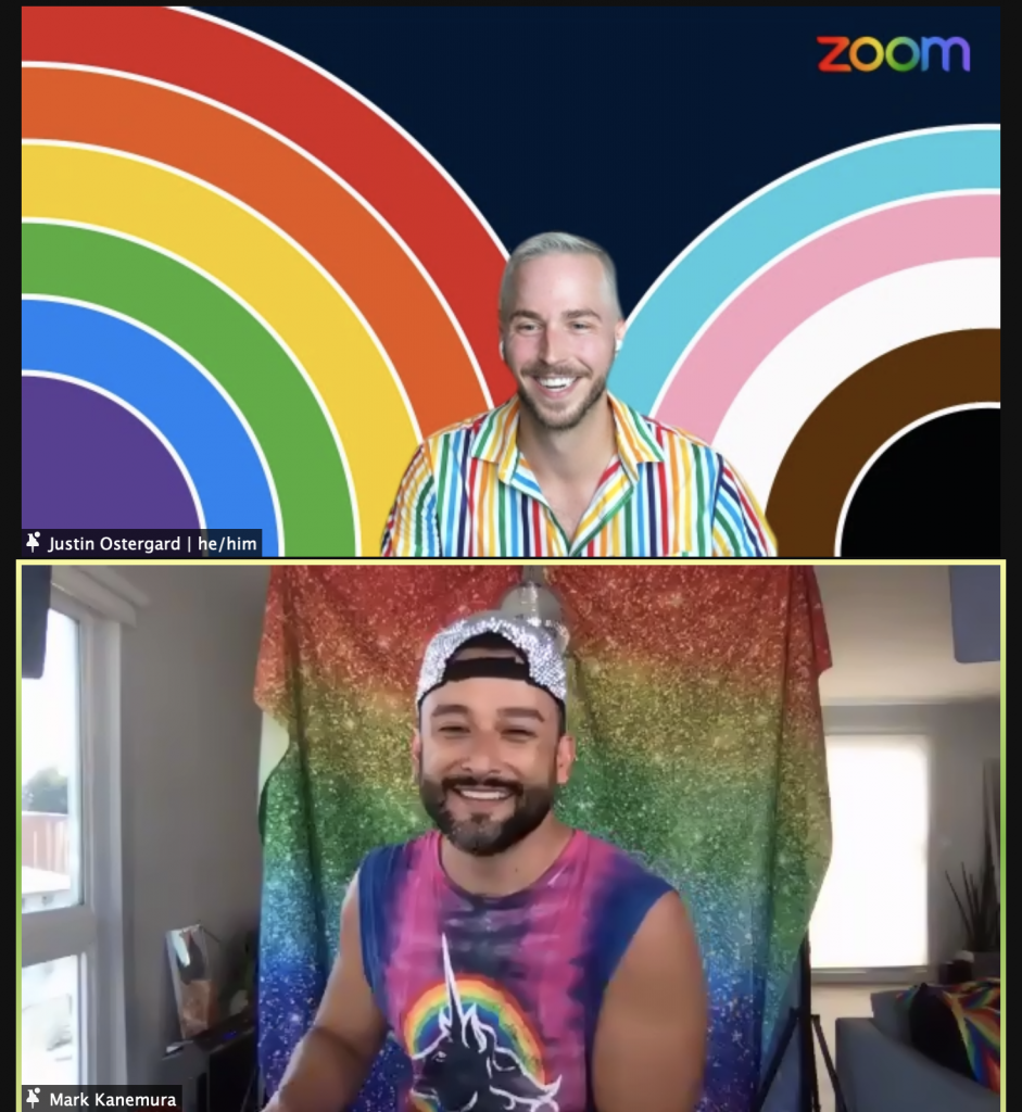 Screenshot from Zoom Pride event with Mark Kanemura.