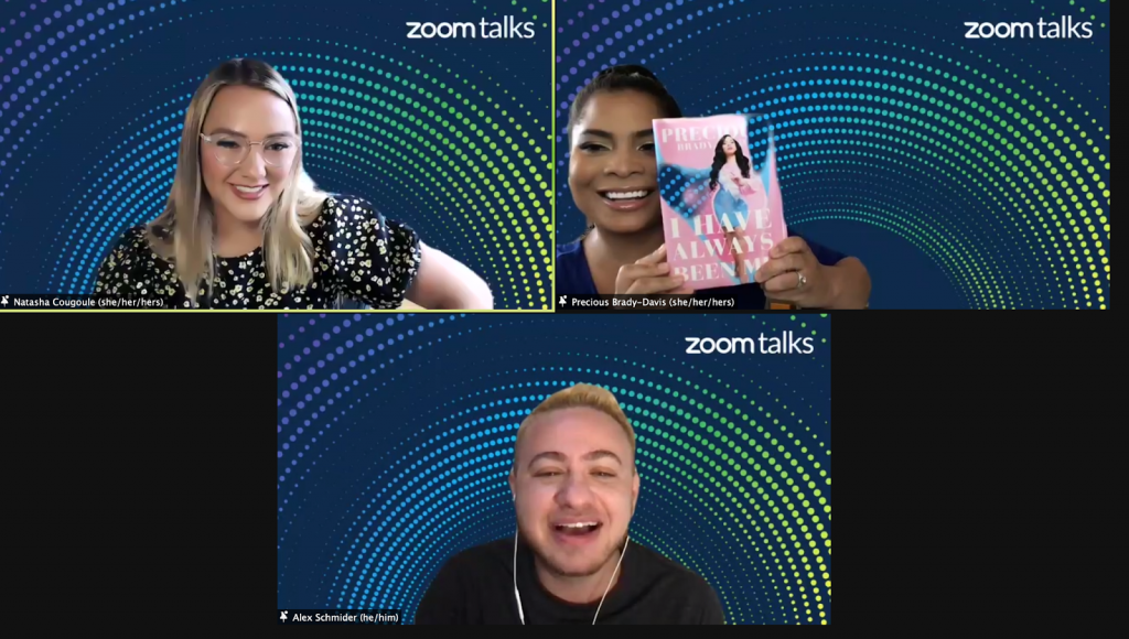 Screenshot from Zoom Talks event on  the power of self identity and pronouns.