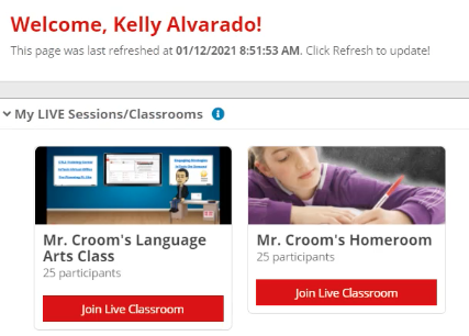 Screenshot of CTLS student portal showing button to join a live classroom.