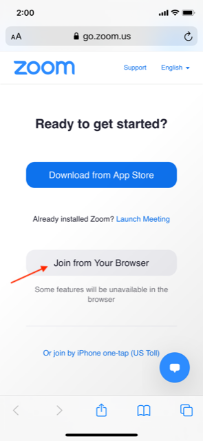 """Mobile view with option to """"Join from your browser."""""""