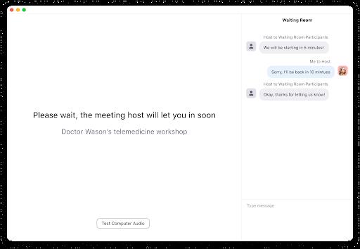 Chat recíproco da Sala de Espera